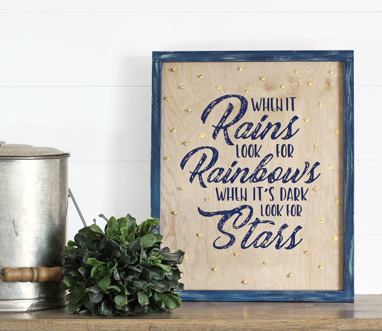 Make a pretty wooden farmhouse-style sign with twinkling lights. Free quote PNG file, perfect for cutting with your Silhouette machine.