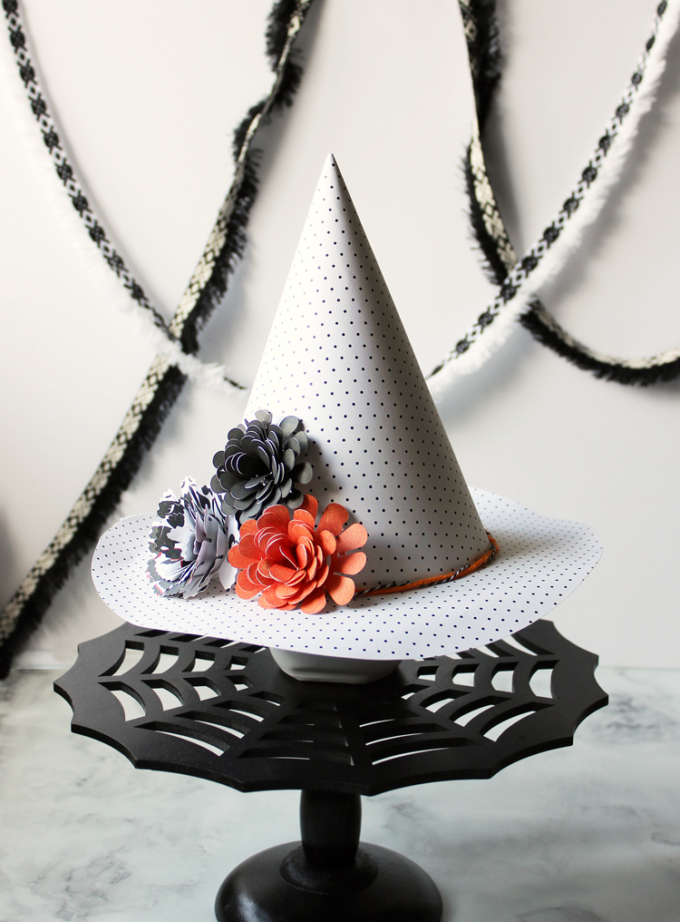 Decorate 3D paper witches hats for a fun and easy Halloween craft idea