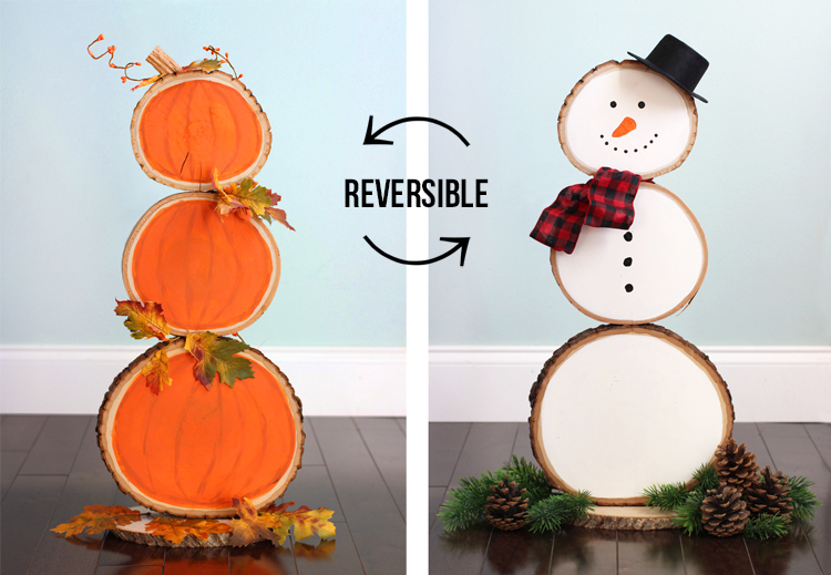Reversible fall and christmas wood slice decoration