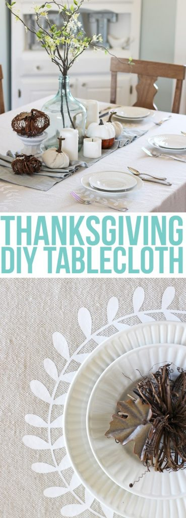 Make your own personalized tablecloth for Thanksgiving using iron-on craft vinyl and a canvas drop cloth. Farmhouse decor for Thanksgiving.