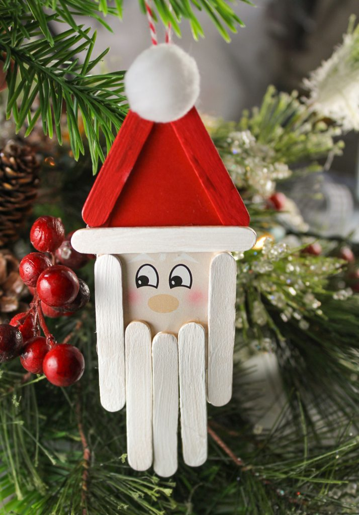 Lollipop Stick Christmas Decorations.Popsicle Stick Santa Christmas Craft For Kids
