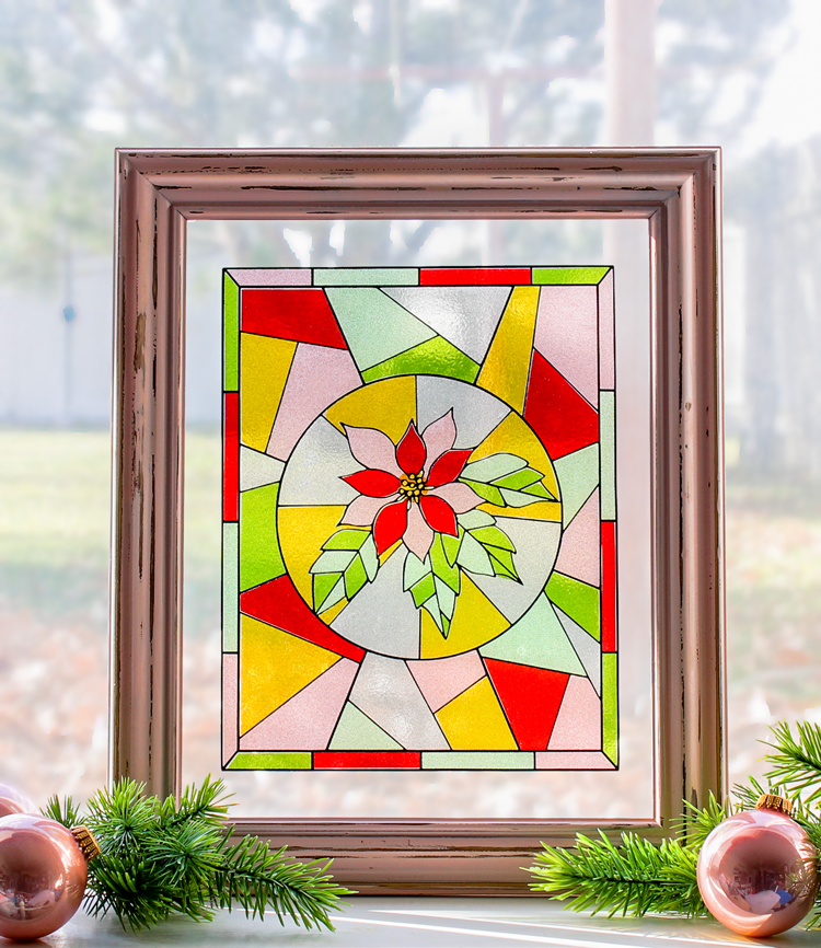 Make a faux stained glass window out of transparent glitter vinyl