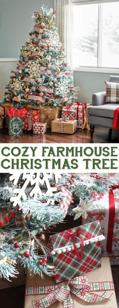 Farmhouse Style Christmas Tree. Plaid Christmas decorations. Gorgeous Christmas tree decorating ideas. #christmastree #handmadewithjoann