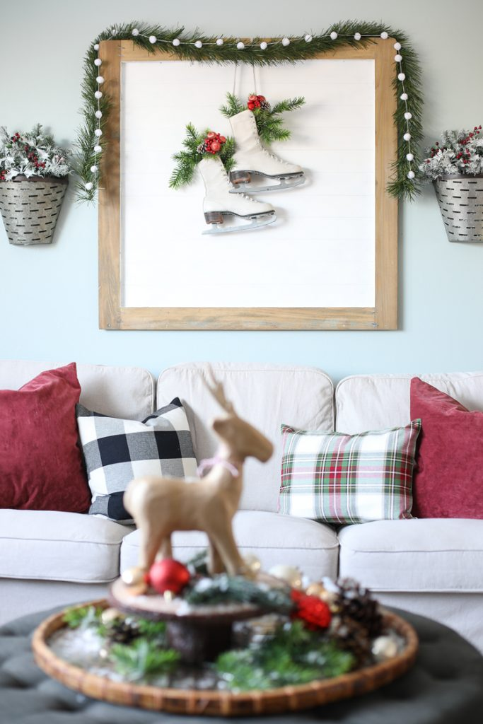 Vintage Ice Skates and Plaid Christmas Pillows