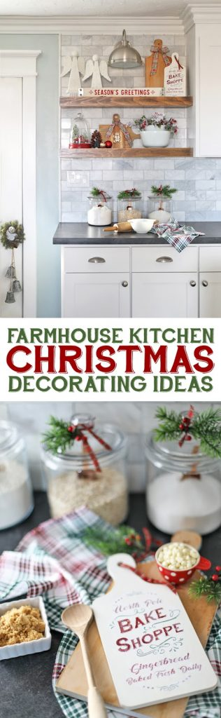 Farmhouse Kitchen Decorating Ideas. How to decorate open shelves for the holidays. #Christmasdecor #handmadewithjoann