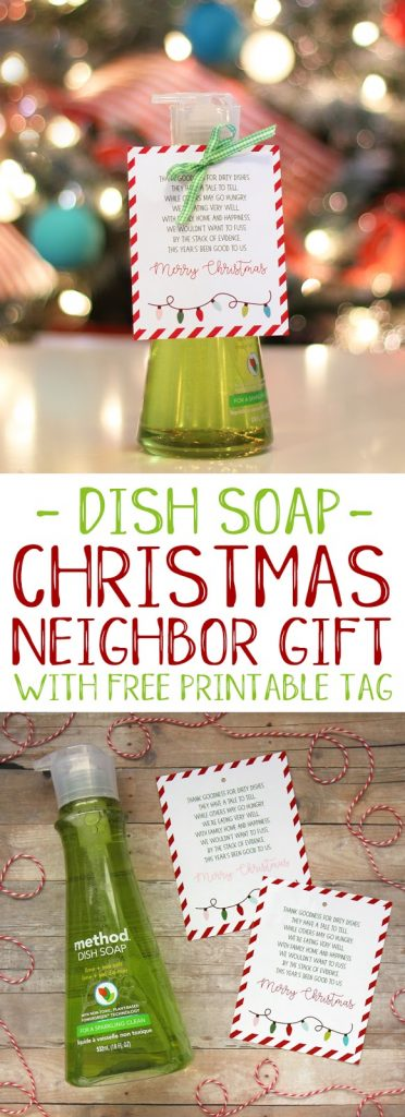 Non-food neighbor gift idea with free printable tag. #christmas #giftideas