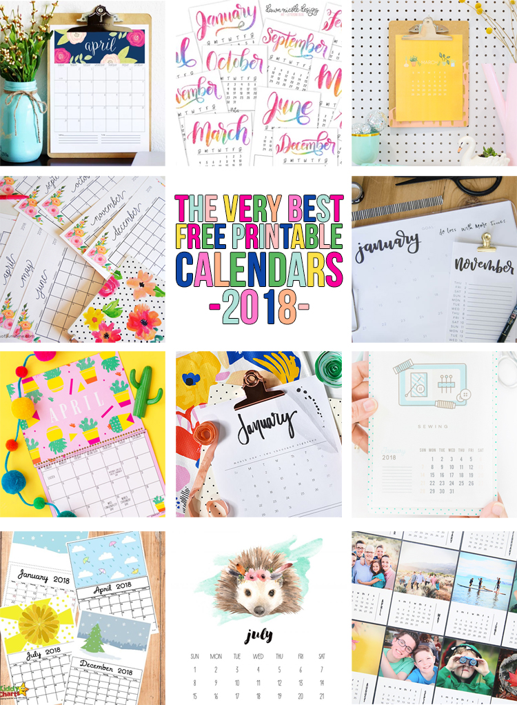 free printable calendar roundup for 2018 with 25 calendars to choose from youre sure to find a design you love