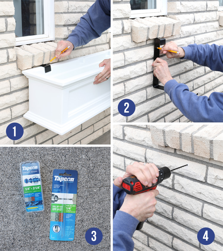 how to add window boxes to a brick house