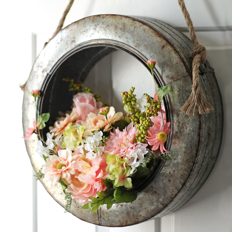galvanized metal tire spring wreath DIY