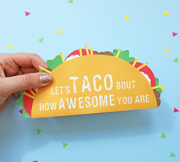 picture about Free Printable Gift Card Holder Templates identified as Taco Present Card Holder -