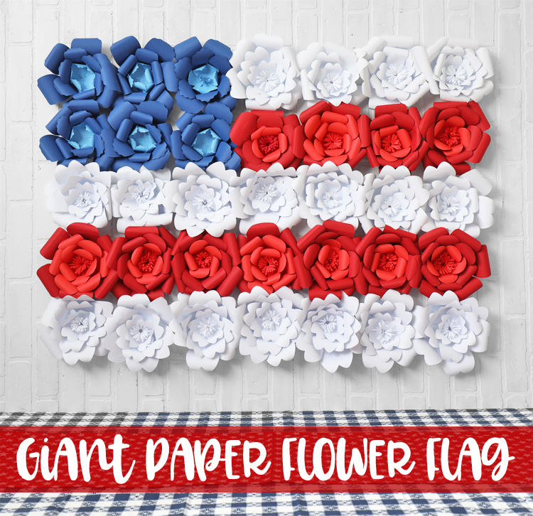 fourth of july paper flower flag