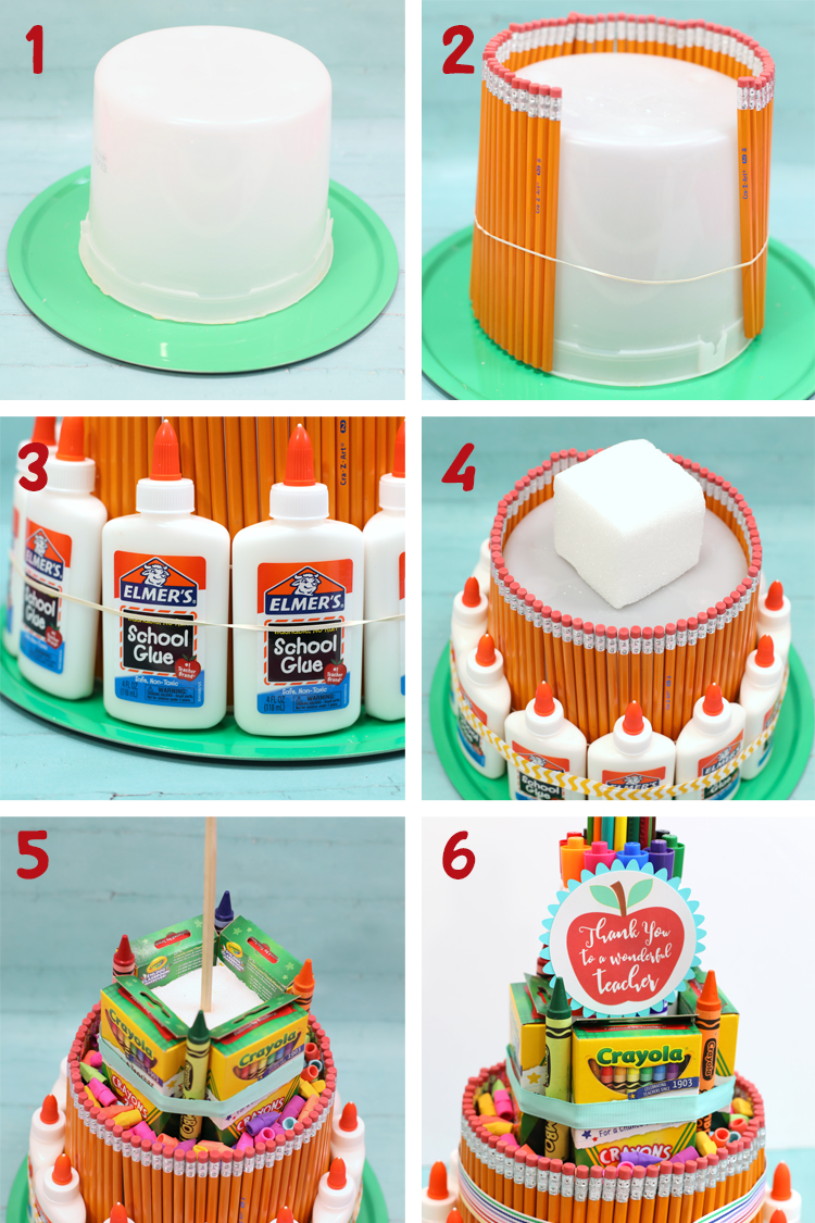 steps to make a school supply cake