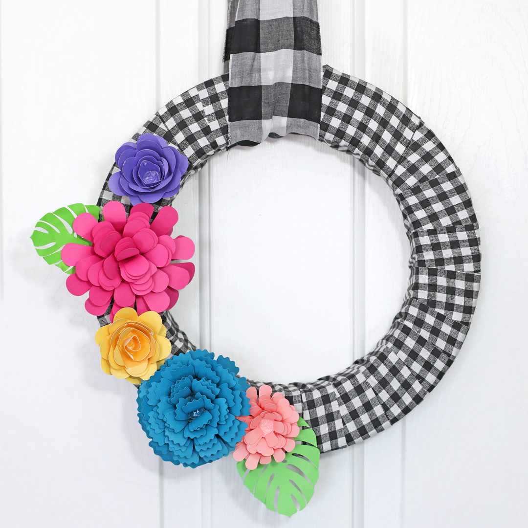 buffalo check paper flower wreath DIY