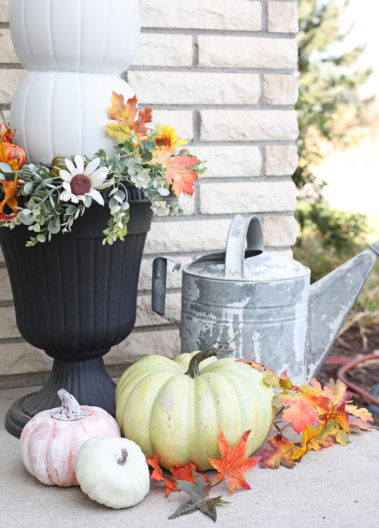 fall porch urns and decor