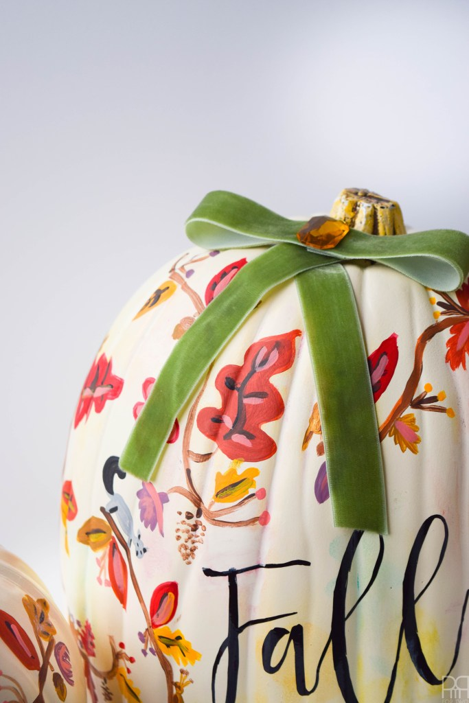fall floral painted pumpkin