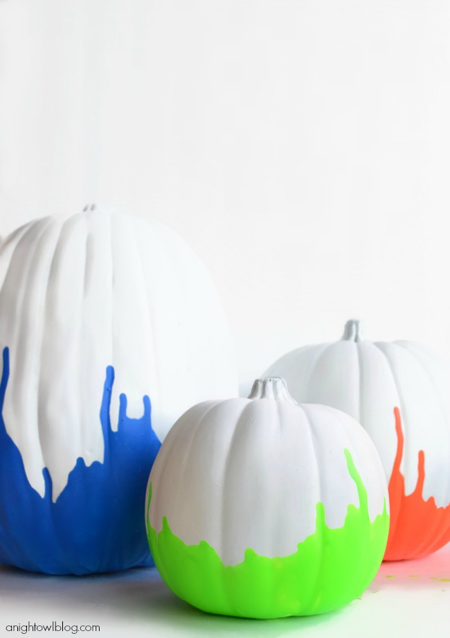neon dipped painted pumpkins