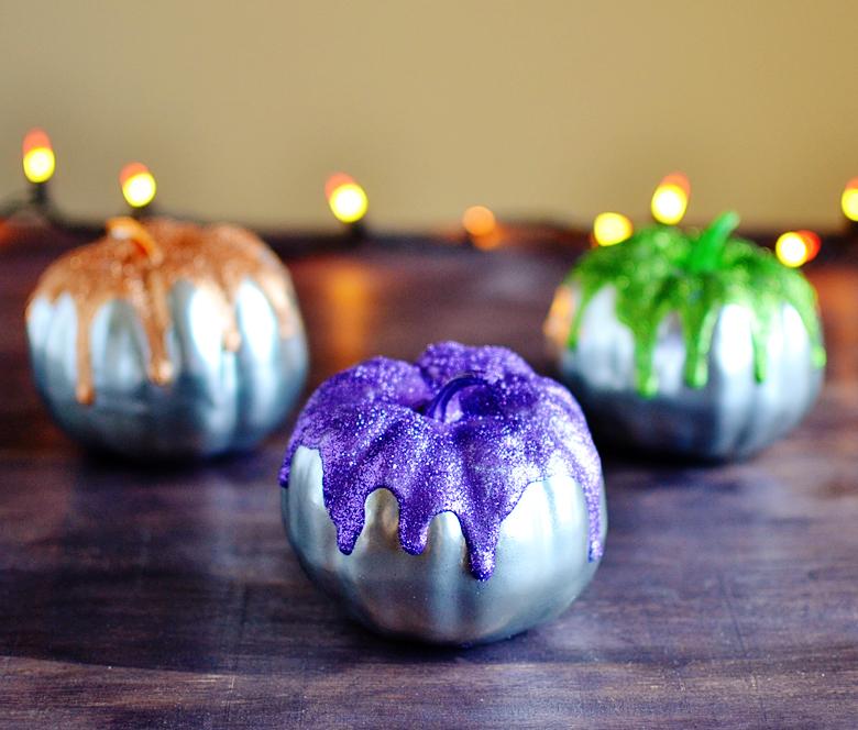 metallic glitter drip pumpkins