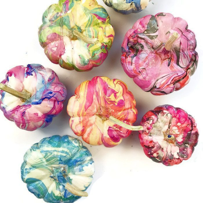 marbled painted pumpkins
