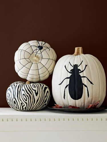 black and white painted pumpkin