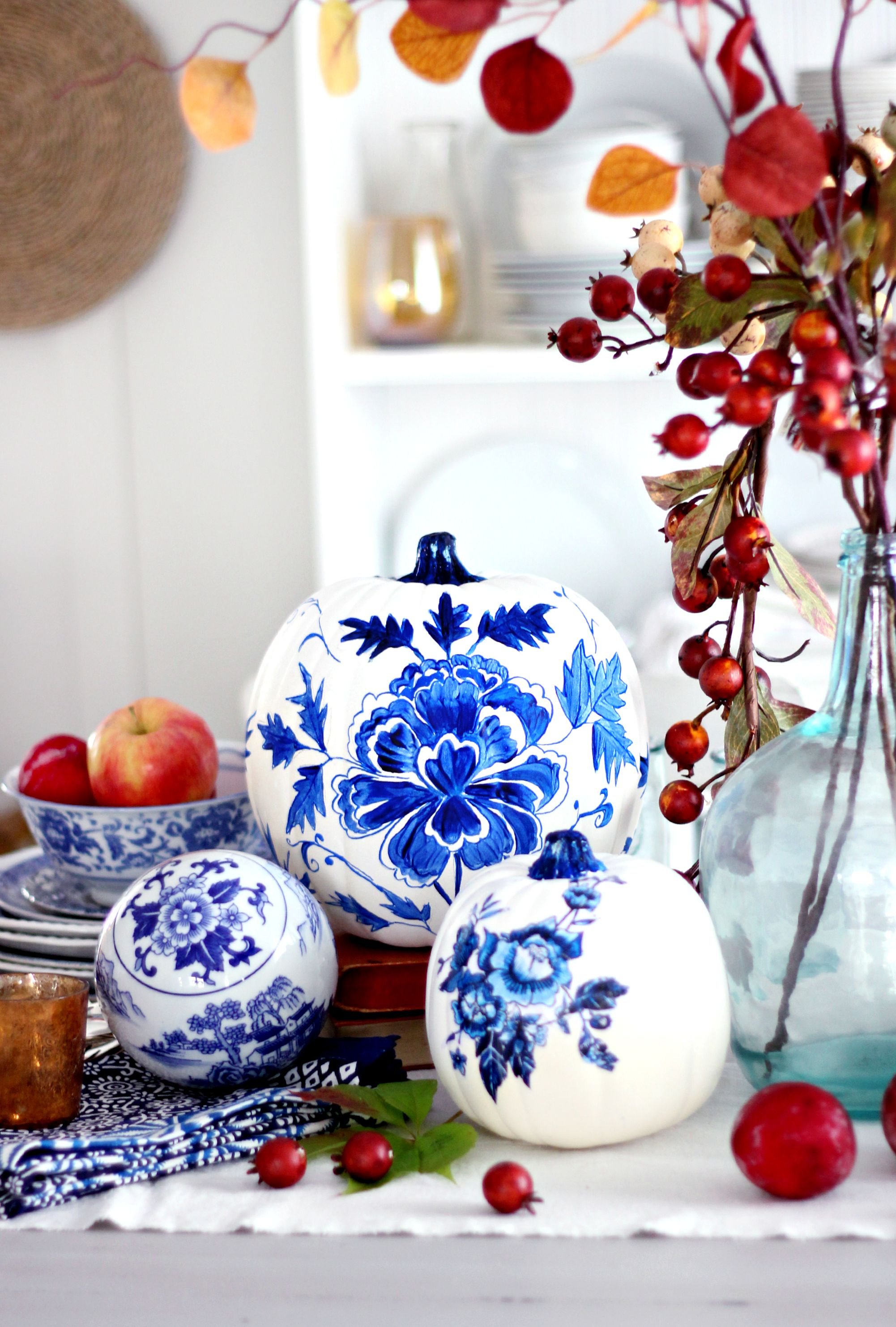 blue and white porcelain painted pumpkins