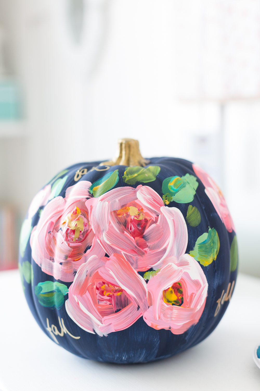 floral painted pumpkin