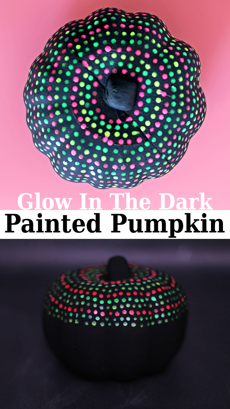 glow in the dark painted pumpkin with dots