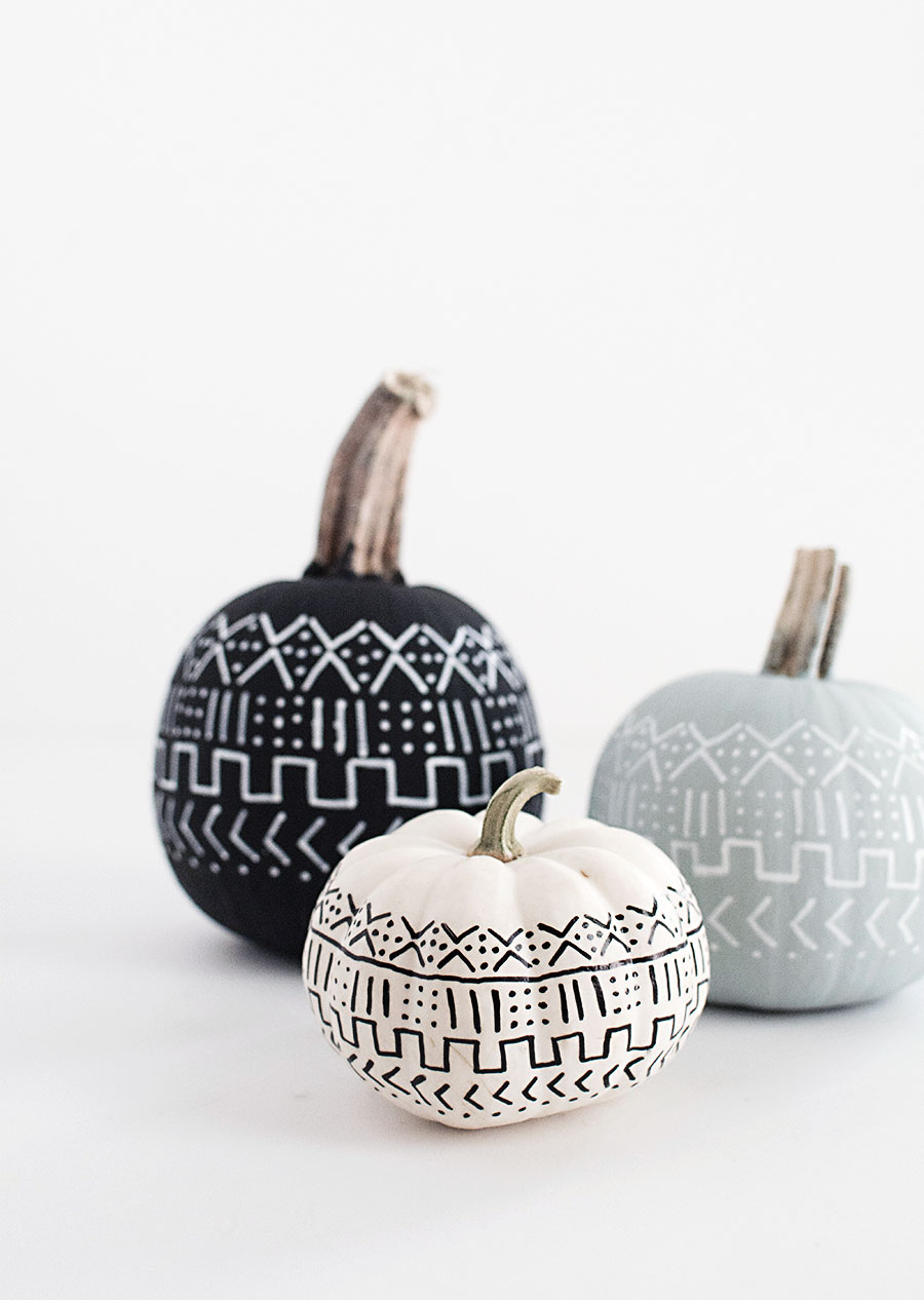 mudcloth painted pumpkins