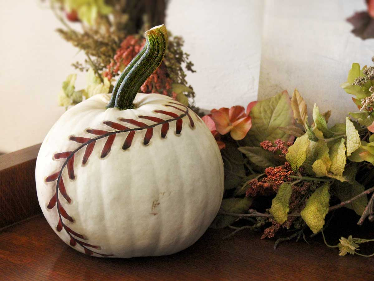 baseball painted pumpkin