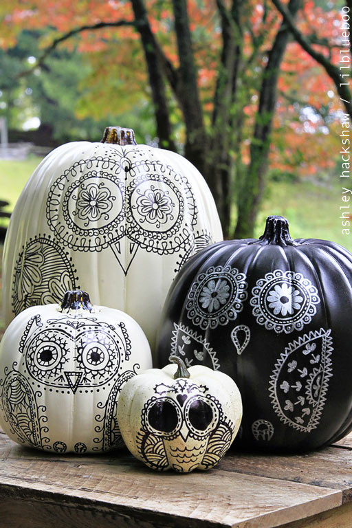 sharpie owl painted pumpkins