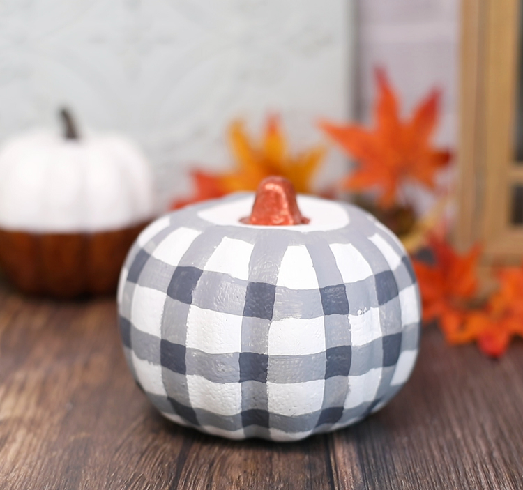plaid painted pumpkin