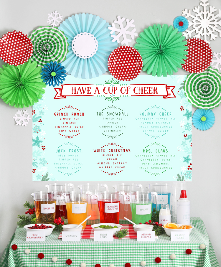 Non-Alcoholic Christmas Punch Bar with Free Party Printables ...