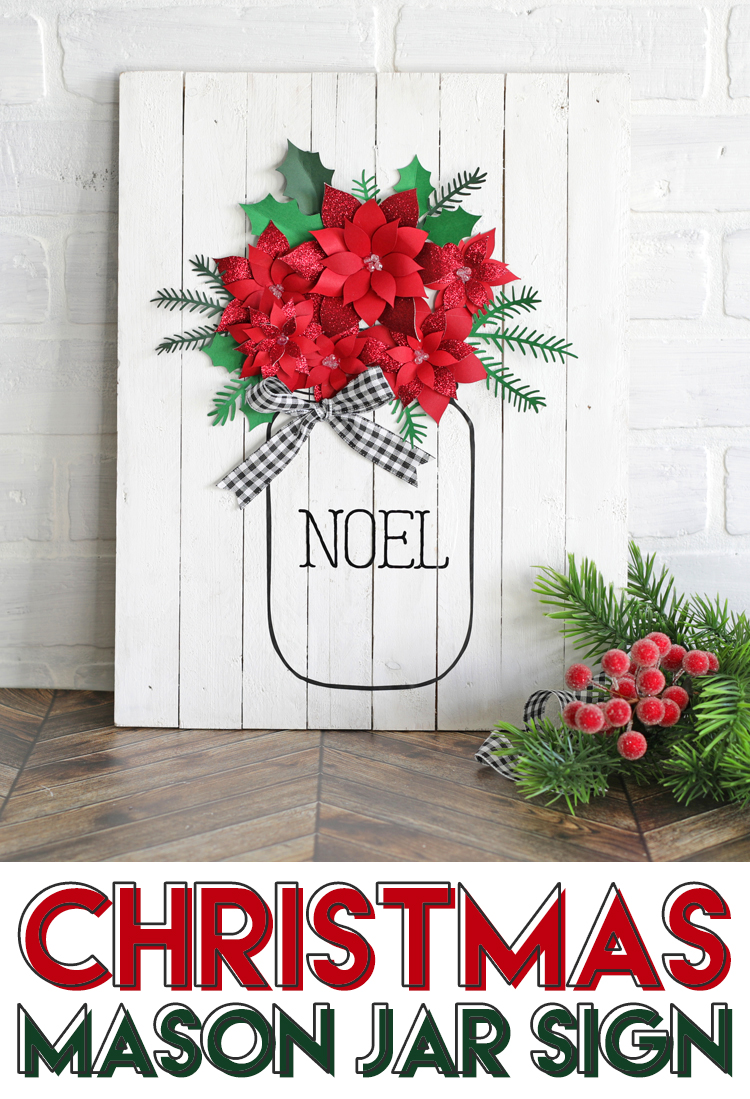 DIY christmas sign with paper flowers