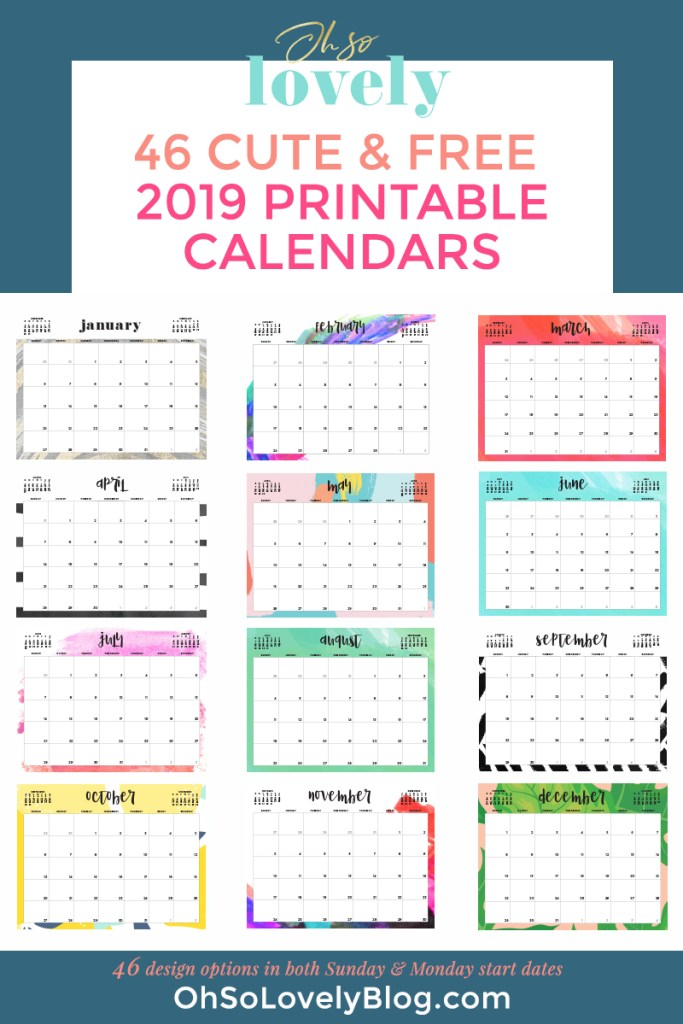 graphic about Printable Calendars for identified as The Least difficult 2019 Absolutely free Printable Calendars -