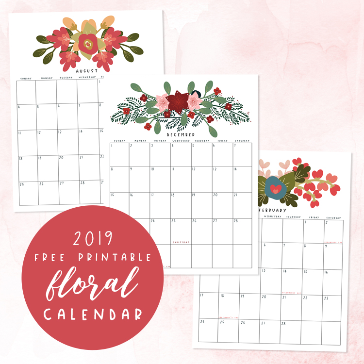 picture about Free Printable Flower known as Spectacular Free of charge Printable 2019 Floral Calendar