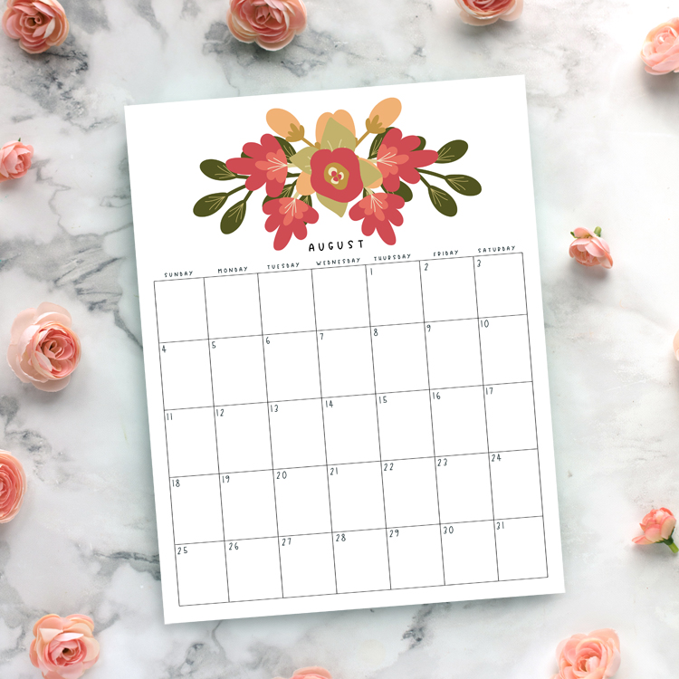 photo relating to Free Printable Monthly Calendar With Holidays titled Beautiful Totally free Printable 2019 Floral Calendar