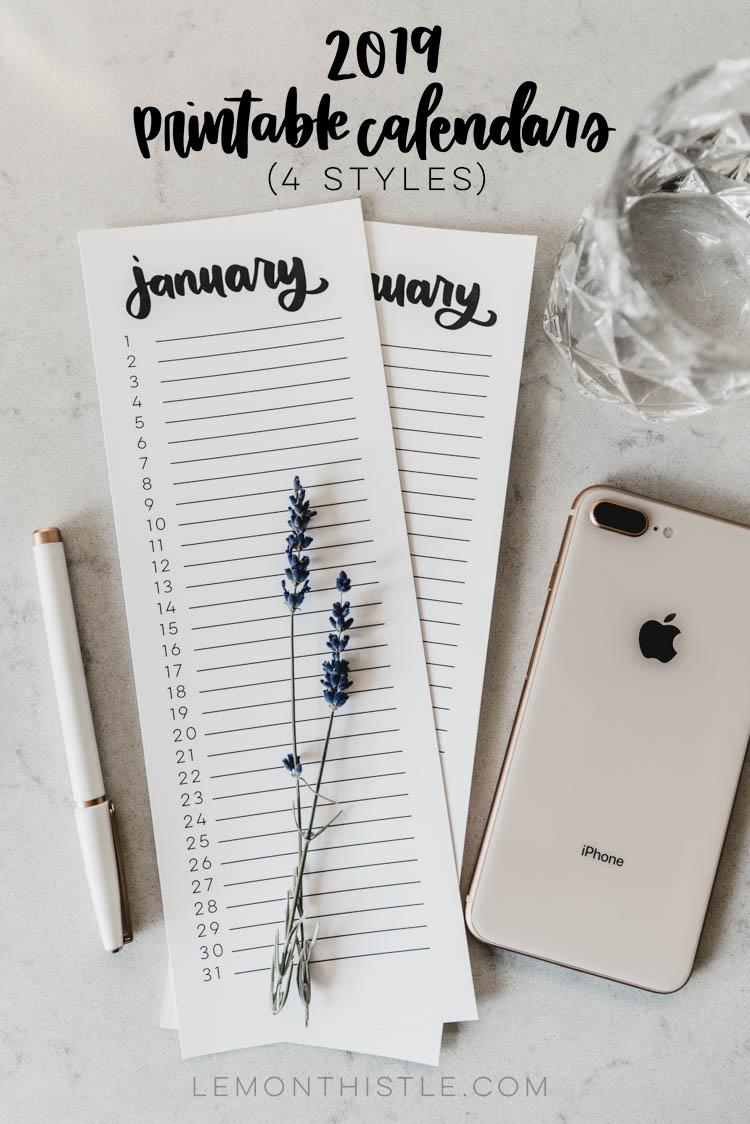 The Best 2019 Free Printable Calendars - thecraftpatchblog.com