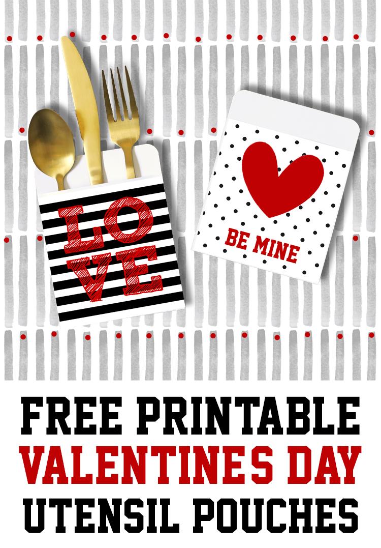 printable valentines day utensil holders