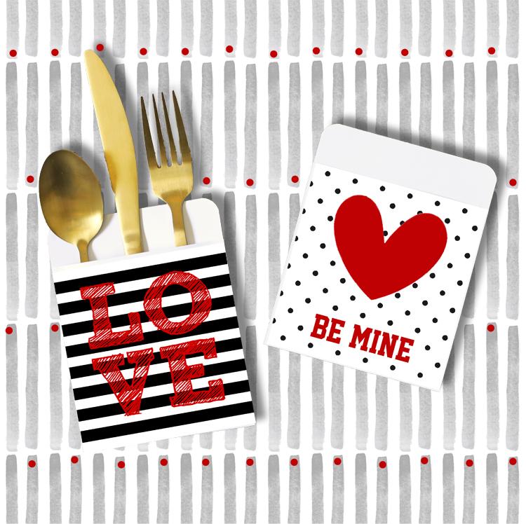 valentines day utensil holders
