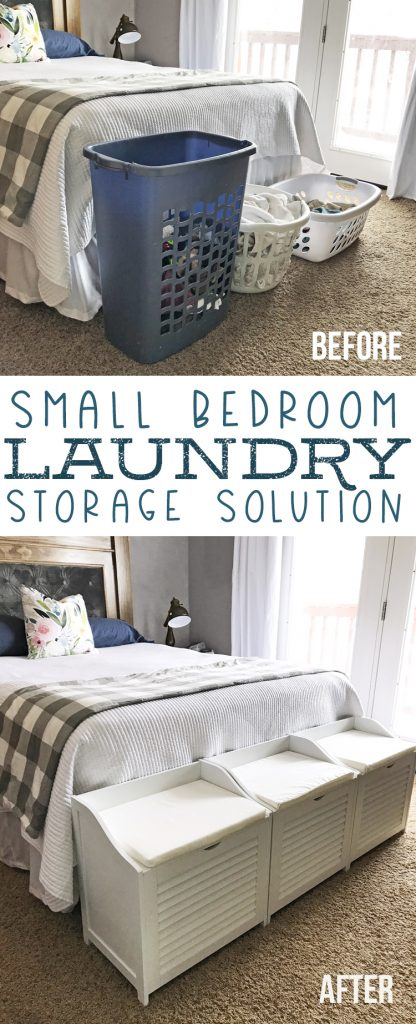 small bedroom laundry storage solution