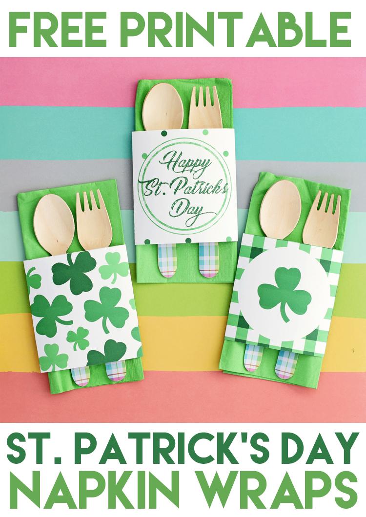 free printable st patrick's day napkin wraps
