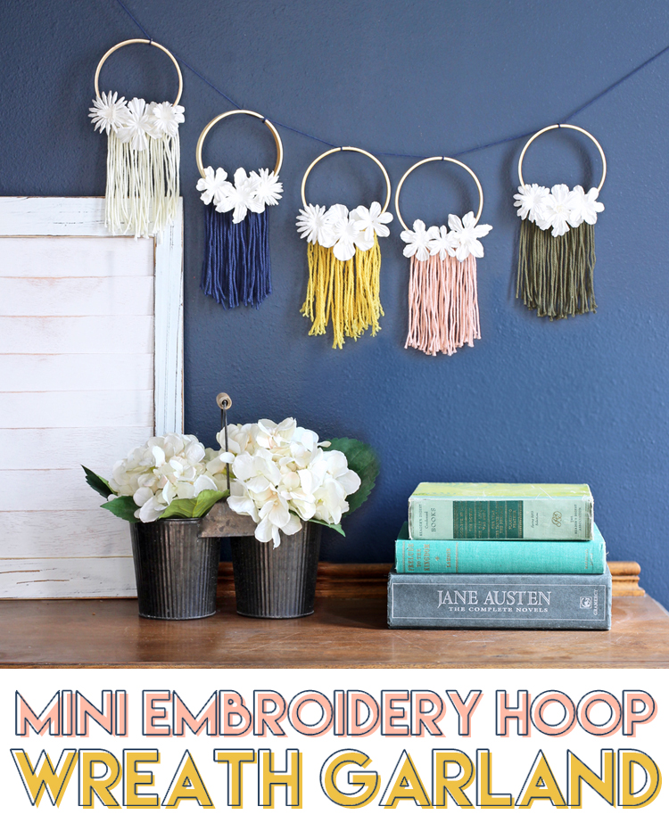 mini embroidery hoop wreath garland craft tutorial