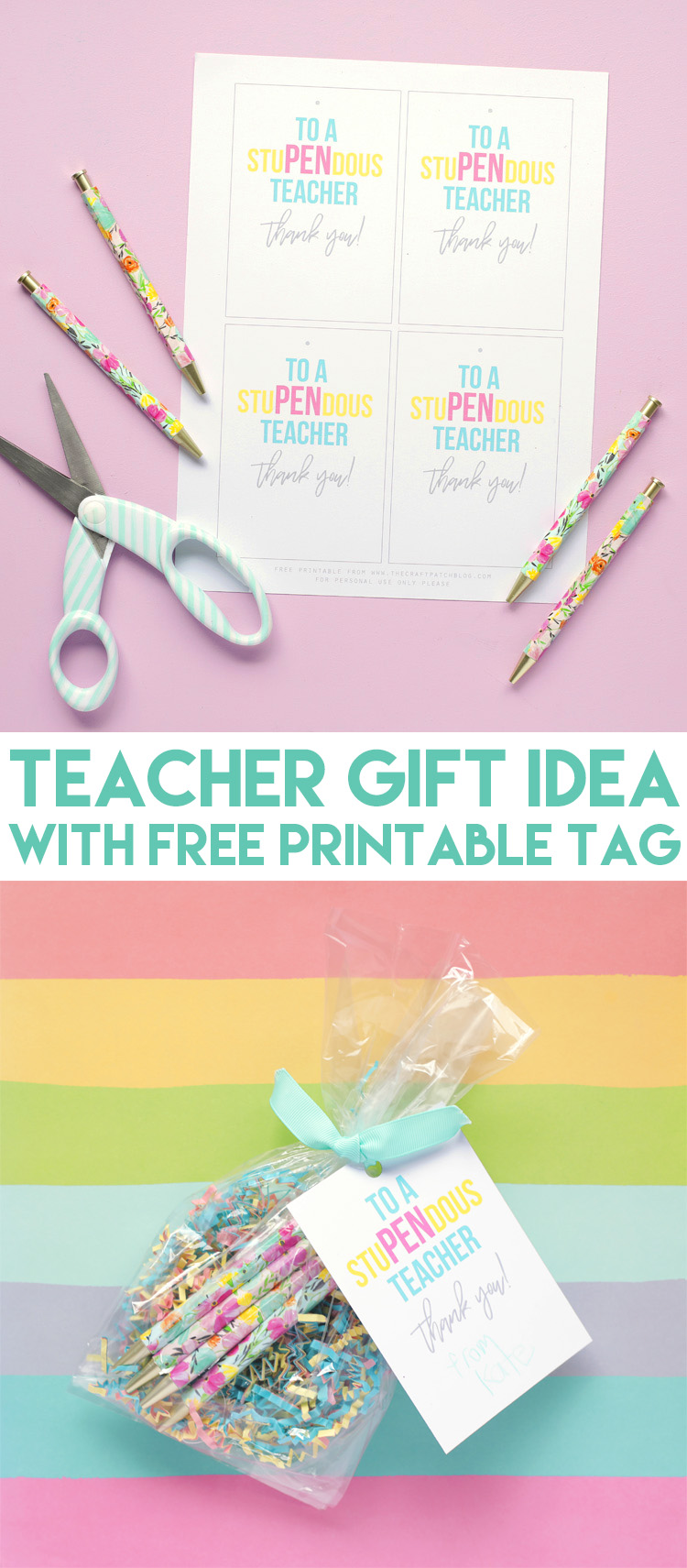 photograph regarding Free Printable Teacher Gift Tags identified as StuPENdous Instructor Appreciation Present Notion with Free of charge