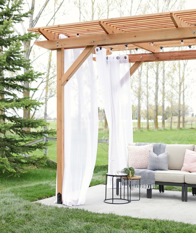 redwood pergola outdoor living space