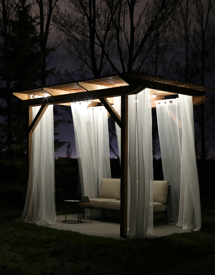 pergola at night with cafe lights