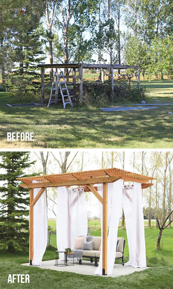 backyard pergola before and after