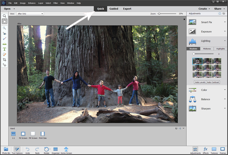 quick tab in Photoshop Elements