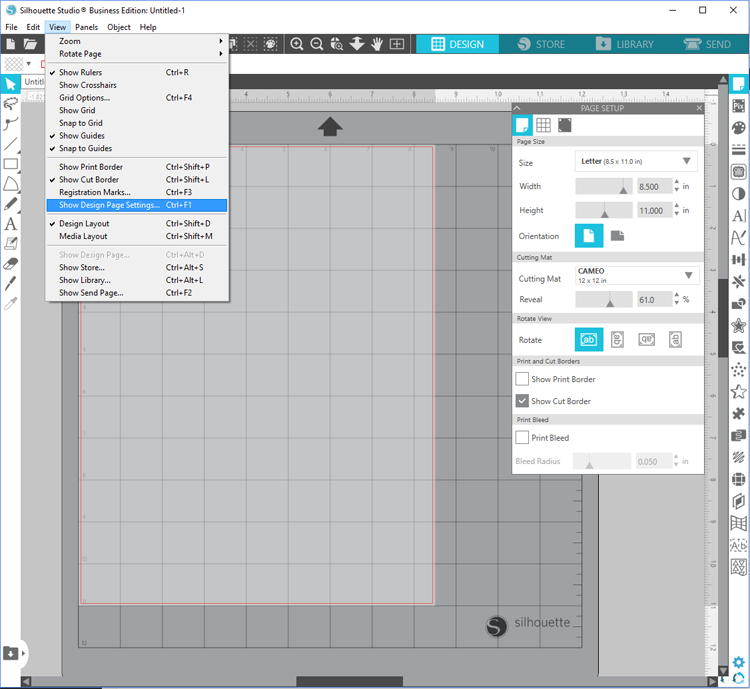 silhouette studio design page settings