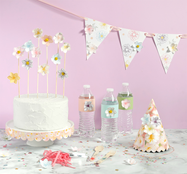 Stamped Paper Flower Cake Topper
