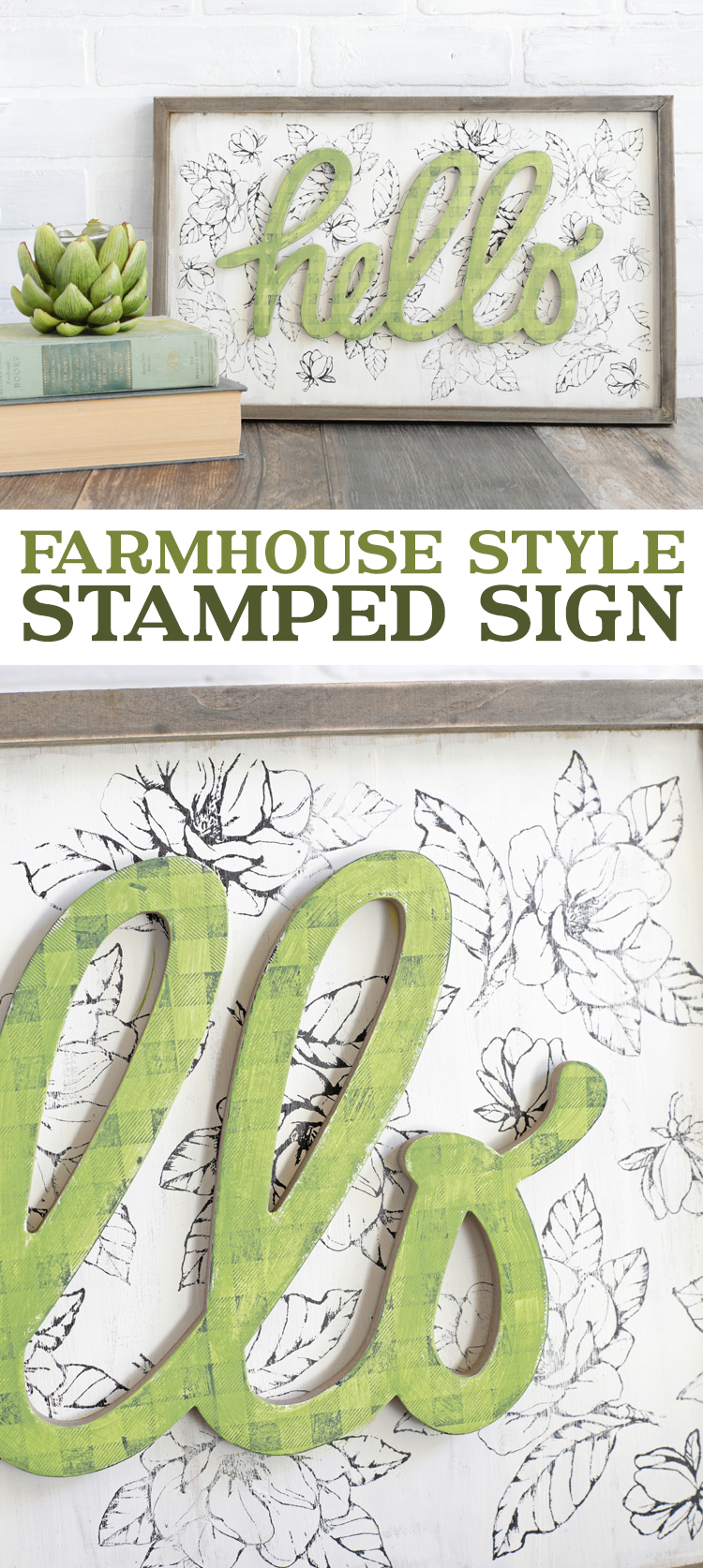farmhouse style stamped wooden sign