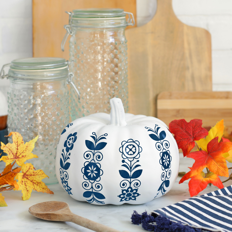 blue and white floral pumpkin